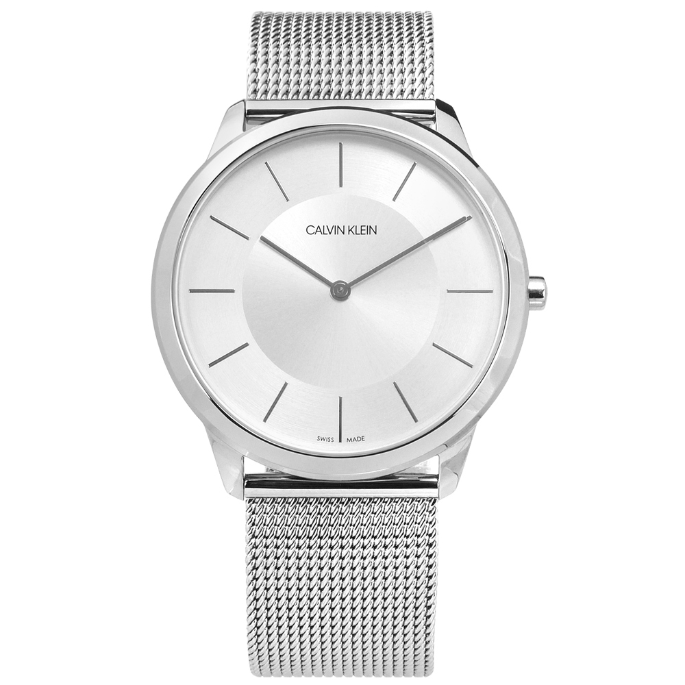 CK Minimal 極簡時尚米蘭編織不鏽鋼手錶-銀/43mm