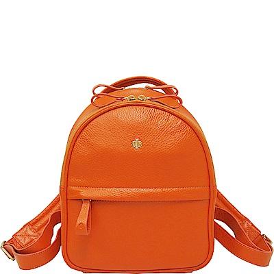 OBBI LAI 橘色荔枝紋牛皮後背包-S