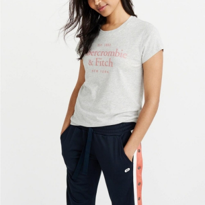 麋鹿 AF A&F 經典文字設計短袖T恤(女)-灰色