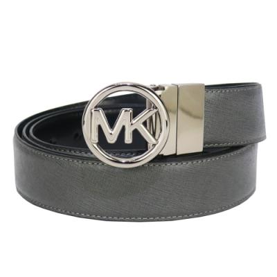MK MICHAEL KORS防刮MK鏤空圓牌素色雙面用皮帶-灰/黑