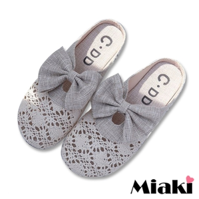 Miaki-穆勒鞋可愛教主鏤空圓頭包鞋-米