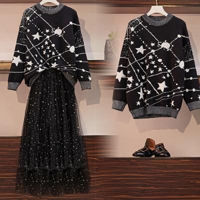 【韓國K.W.】(預購)星空璀璨約會流行毛線衣兩件套-1色