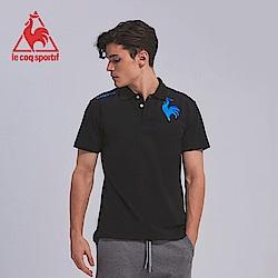 le coq sportif 法國公雞牌左胸公雞繡花短袖POLO衫 男-黑