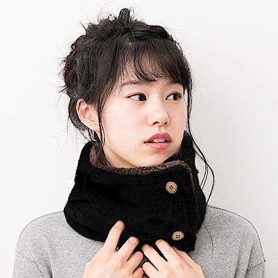 日本AUBE 2way鈕扣式絨毛圍脖
