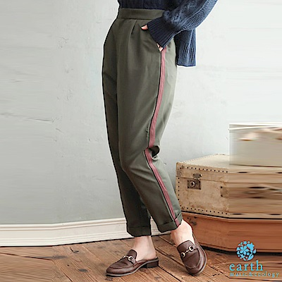earth music 廣瀨鈴企劃款-側邊配色線條設計長褲