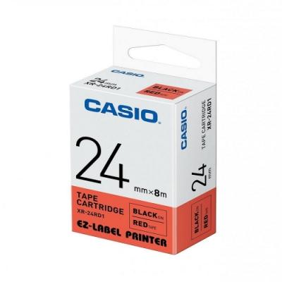 CASIO  標籤機專用色帶-24mm【共有5色】紅底黑字(XR-24RD1)