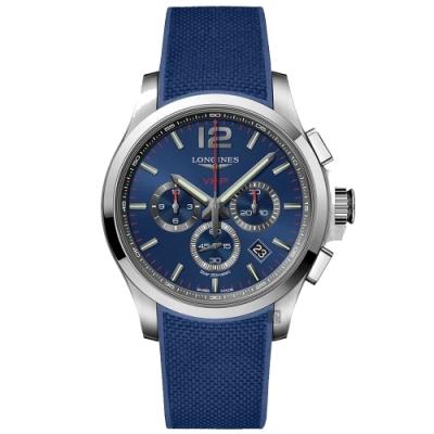 LONGINES 浪琴 征服者系列V.H.P.萬年曆計時手錶-藍/43mm