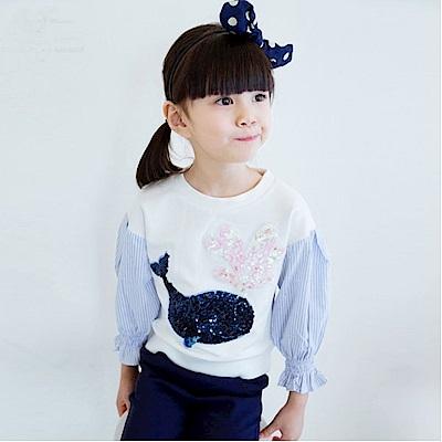 小衣衫童裝  亮片小鯨魚接條紋泡泡袖上衣1050933