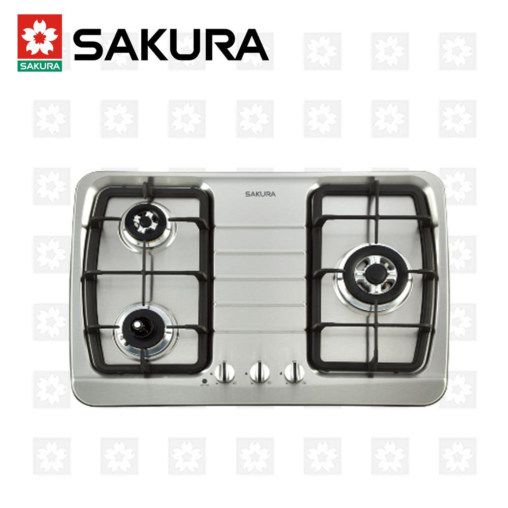 櫻花牌 SAKURA 三口防乾燒節能檯面爐 G-2830KS 天然瓦斯 限北北基配送