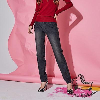 Hana+花木馬 時尚復刻媽咪版舒適版型刷色牛仔直筒丹寧褲-黑