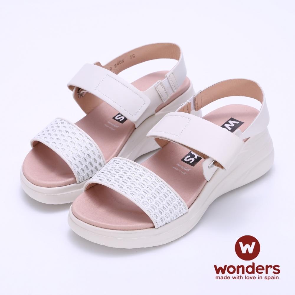 WONDERS西班牙進口 一字寬帶水鑽魔鬼氈楔型涼鞋-白色