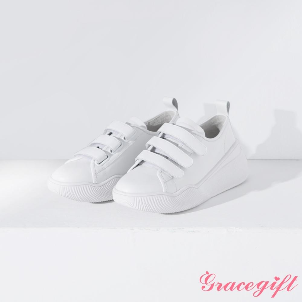 Grace gift X Wei-聯名真皮魔鬼氈厚底休閒鞋 白