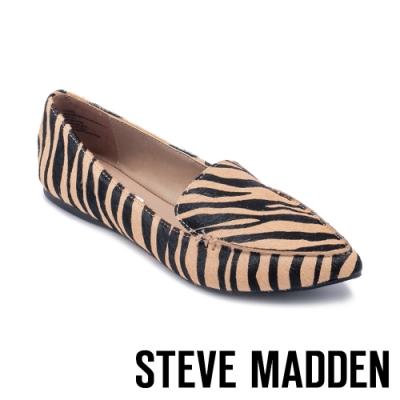 STEVE MADDEN-FEATHER-L 摩登動物紋尖頭平底鞋-橘黑