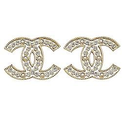 CHANEL 經典簍空大雙C LOGO水鑽珠珠裝飾耳環(金)