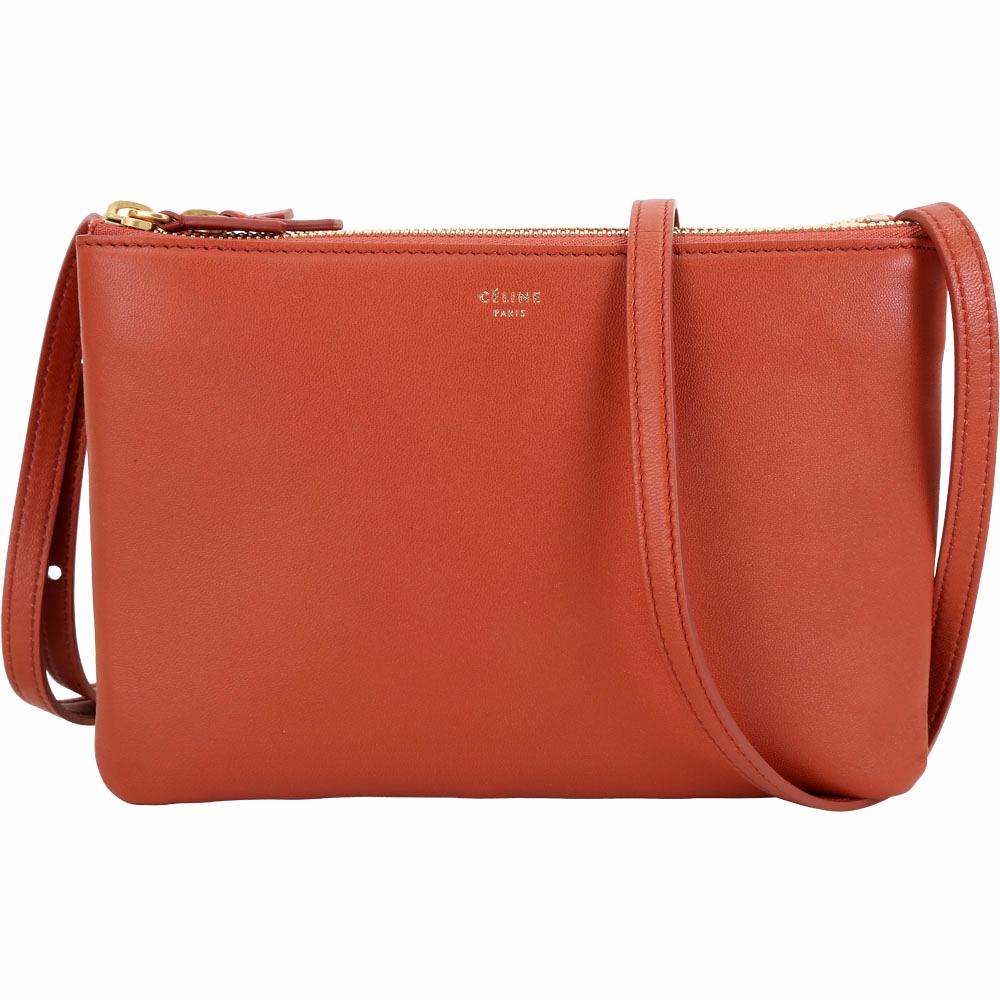 CELINE TRIO 小款經典小羊皮斜背包(橘紅色) @ Y!購物