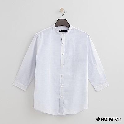 Hang Ten - 男裝 - 純色棉質圓領襯衫 - 白
