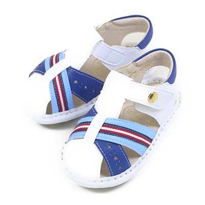 Swan天鵝童鞋-條紋小星星寶寶涼鞋1574-白