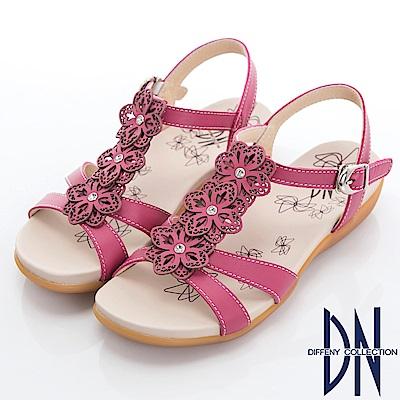 DN 花團錦簇 MIT牛皮電雕花朵涼鞋-桃