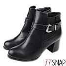 TTSNAP短靴-MIT簡約保暖刷毛中跟靴 黑