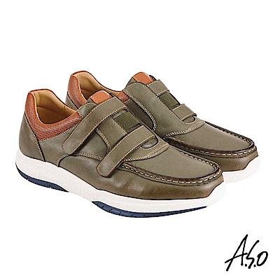 A.S.O機能休閒 萬步健康鞋 雙帶魔鬼黏休閒鞋-墨綠