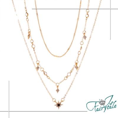 iSFairytale伊飾童話 第一顆星 幾何鑲鑽三層鎖骨項鍊