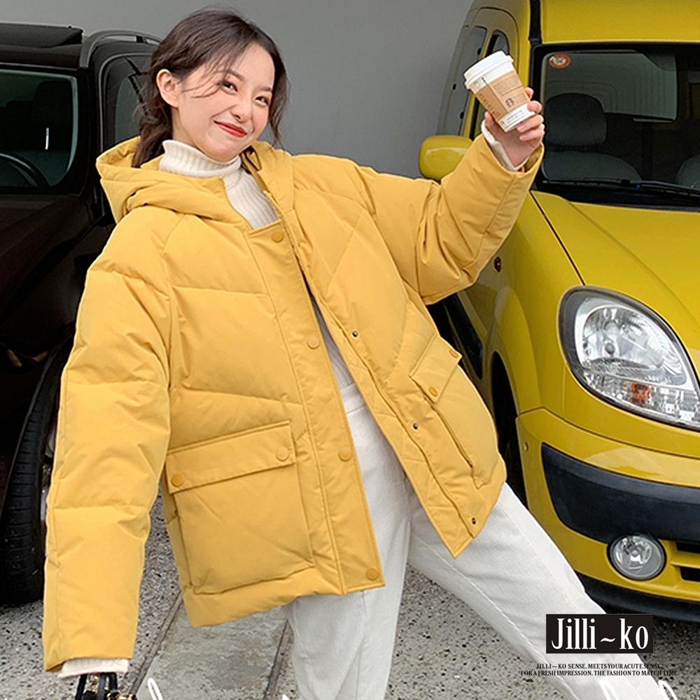 JILLI-KO 時尚保暖立領加厚羽絨棉連帽外套- 黑/杏/黃 (黃色系)