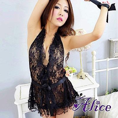 Alice性感蕾絲綁帶雷絲情趣內衣套裝連身裙(AK048)