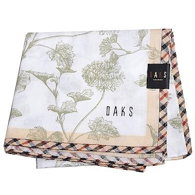 DAKS 經典品牌格紋滾邊字母LOGO大帕領巾(白底)