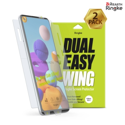【Ringke】Rearth 三星 Samsung Galaxy A21s [Dual Easy Wing] 易安裝側邊滿版螢幕保護貼 - 二片裝