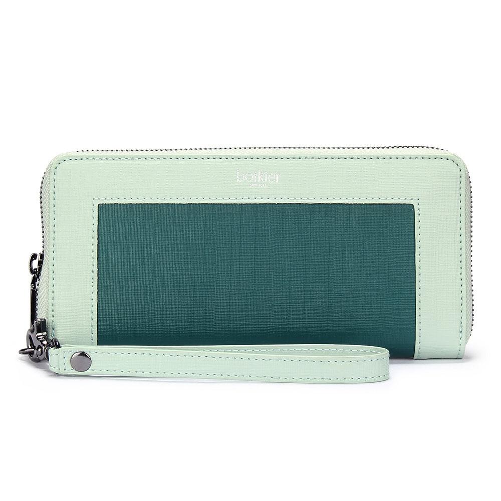 botkier PARK SLOPE拼接撞色防刮皮革拉鍊手拿包長夾-粉綠/翠綠色