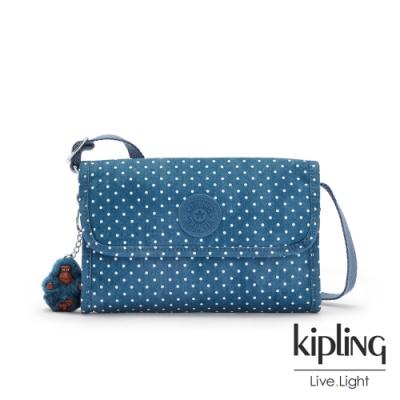 Kipling 復刻單寧水玉藍掀蓋拉鍊肩背包-BERRY