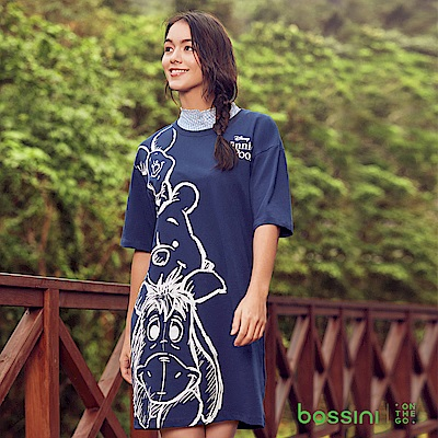 bossini女裝-小熊維尼印花連身洋裝01海軍藍