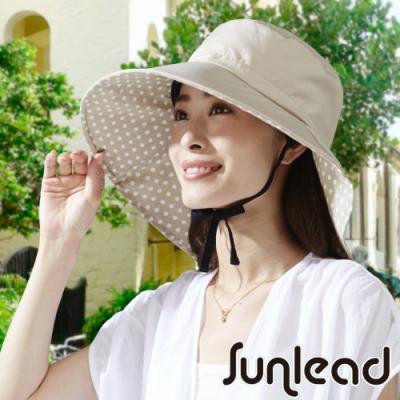Sunlead 防吹落寬緣款。防曬護頸寬圓頂抗UV遮陽帽 (奶茶色)