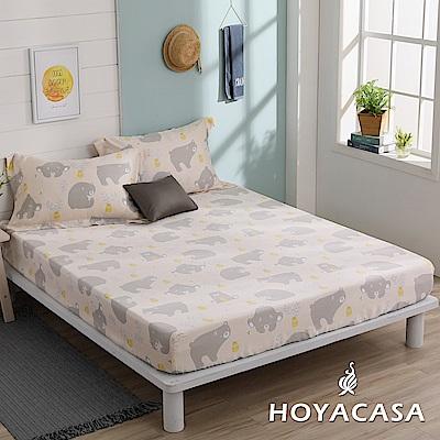 HOYACASA淘氣樂樂 加大親膚極潤天絲床包枕套三件組