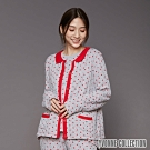 YVONNE 迷你點點小圓領開襟外套-淺灰/紅M
