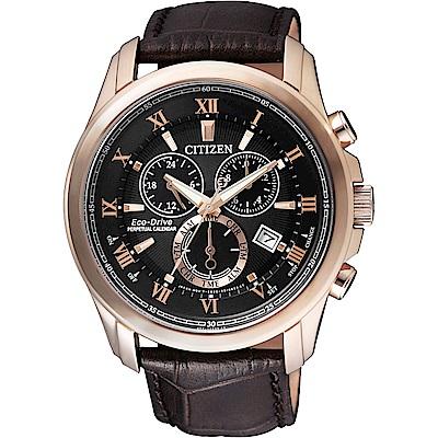 CITIZEN 亞洲限量光動能萬年曆腕錶(BL5542-07E)-黑x玫瑰金框/43mm