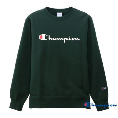Champion Basic 草寫Logo內刷毛大學Tee 綠色
