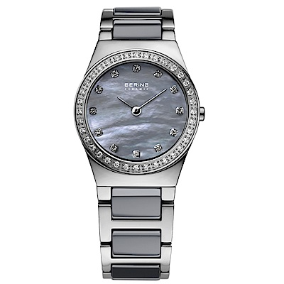 BERING閃耀晶鑽陶瓷系列 珍珠母貝錶盤 灰x銀 小錶面26mm