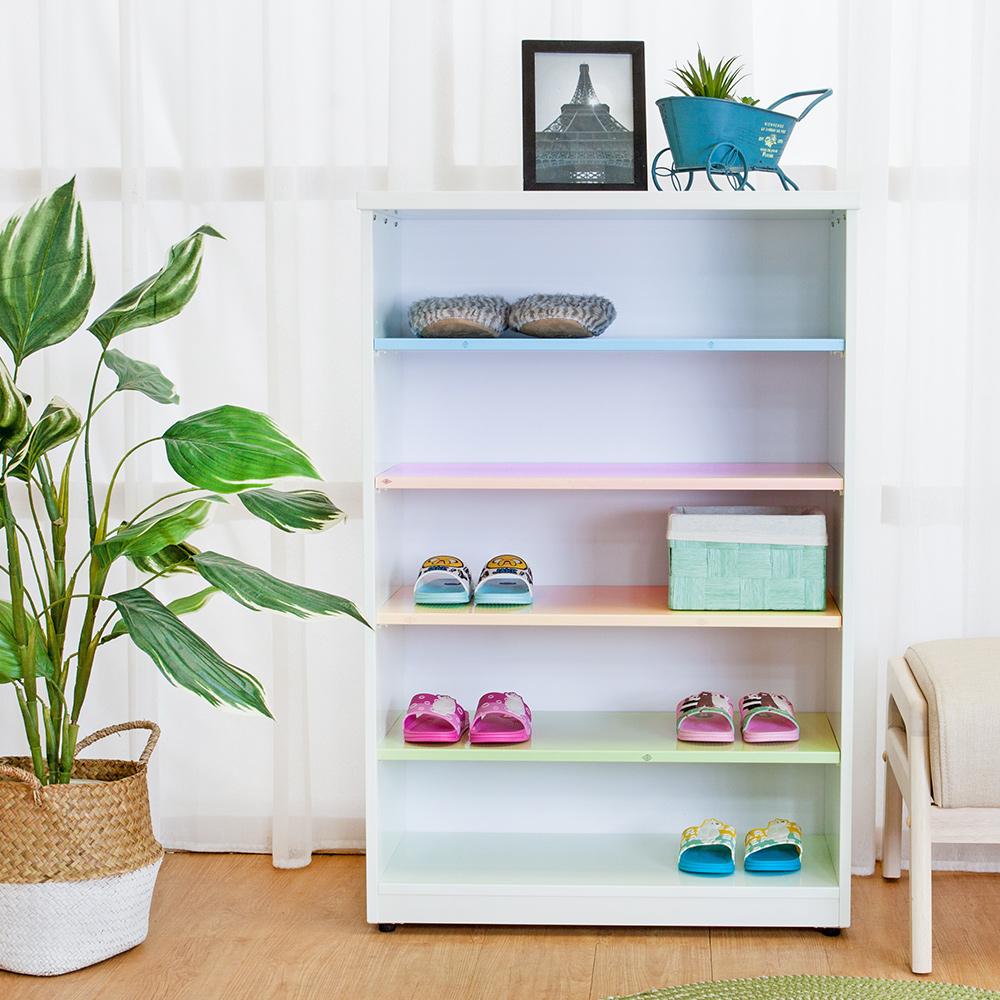 Birdie南亞塑鋼-2.2尺開放式五格收納櫃/鞋櫃-彩色板-66x33x100cm