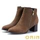 ORIN 俐落時髦 素面牛皮拉鍊粗跟短靴-棕色 product thumbnail 1