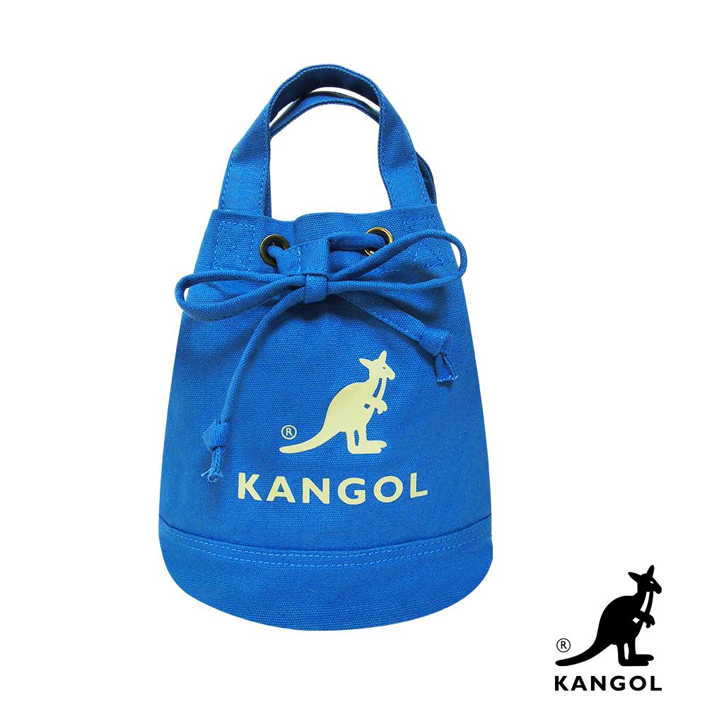 福利品 KANGOL 韓版玩色系列-帆布斜背水桶包-正藍