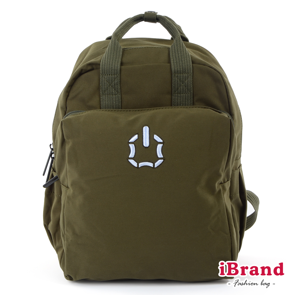 iBrand後背包 簡約素色輕旅行加寬好收納手提後背包-軍綠色