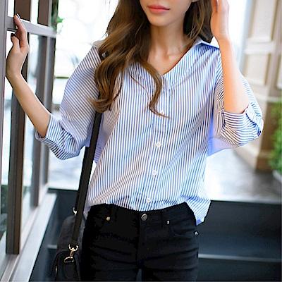 DABI 韓系直筒寬松顯瘦條紋襯衫V領長袖上衣