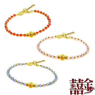 囍金 鏤空雪花圓珠 999千足黃金水晶手鍊(7色可選)