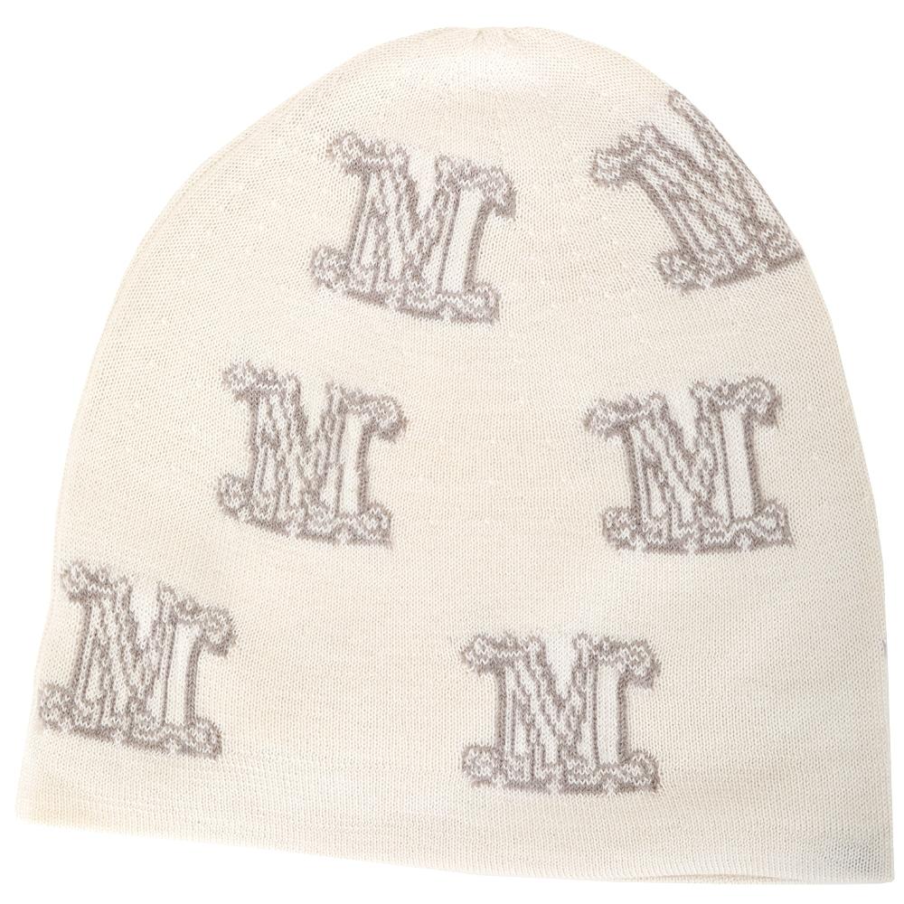 Max Mara M字徽標米色喀什米爾針織羊毛帽