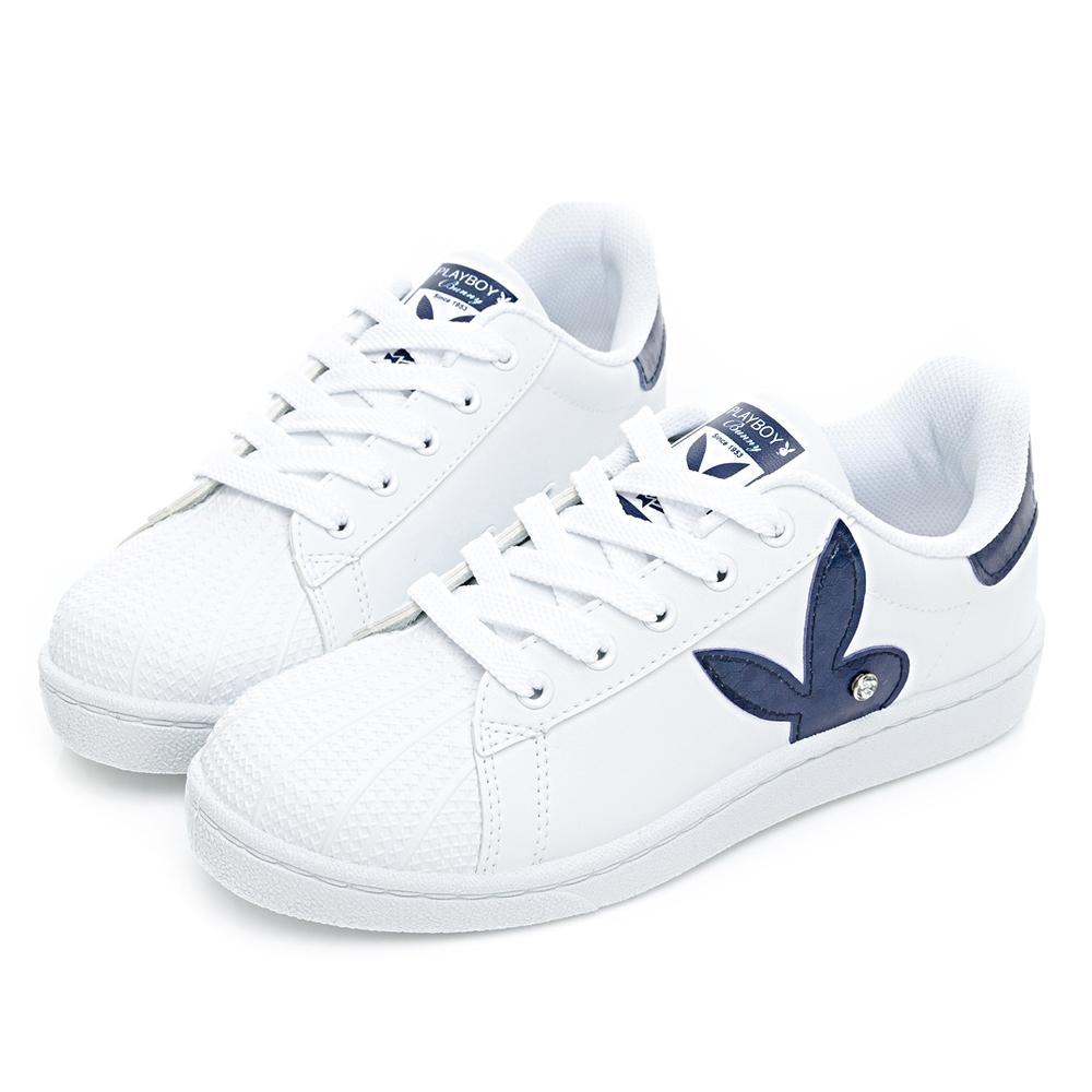 PLAYBOY 簡約兔頭休閒貝殼鞋2.0-白藍-Y67261F