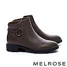 短靴 MELROSE 簡約率性圓釦繫帶粗低跟短靴-綠