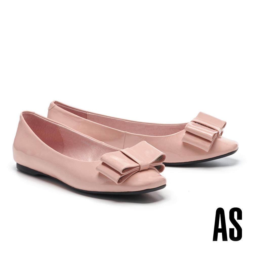 平底鞋 AS 氣質高雅蝴蝶結造型全真皮方頭平底鞋-粉