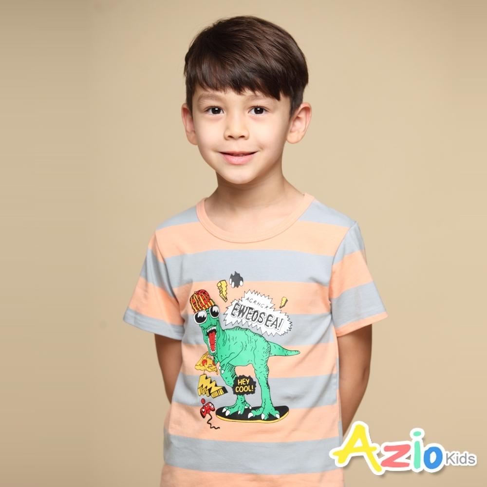 Azio Kids 上衣 嘻哈恐龍印花粗橫條配色短袖上衣T恤(粉)