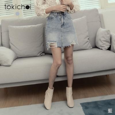 東京著衣 休閒率性刷色抓破牛仔短裙-S.M.L